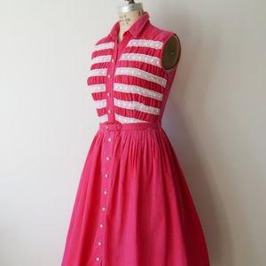 Pink 1950s Vintage Rockabilly Swing/Summer Dress